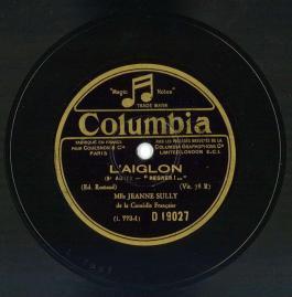 Disque COLUMBIA - L'Aiglon d'Edmond Rostand par Jeanne Sully