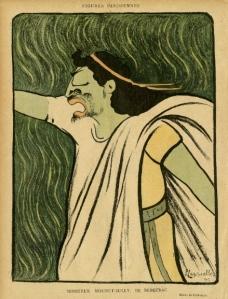 LE RIRE - Mounet-Sully de Bergerac - Caricature de Cappiello (1899)