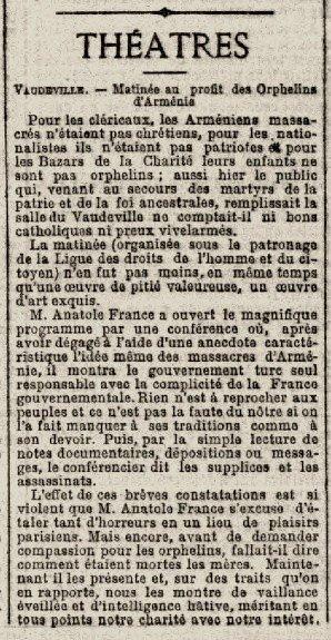 L'AURORE - 17 Juin 1900 - Matinée pour les orphelins d'Arménie