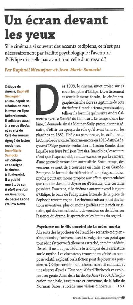 LE MAGAZINE LITTERAIRE - Dossier Oedipe - Mars 2016